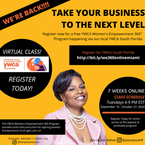 YWCA South Florida Presents WE360 Entrepreneurship Course @ Online